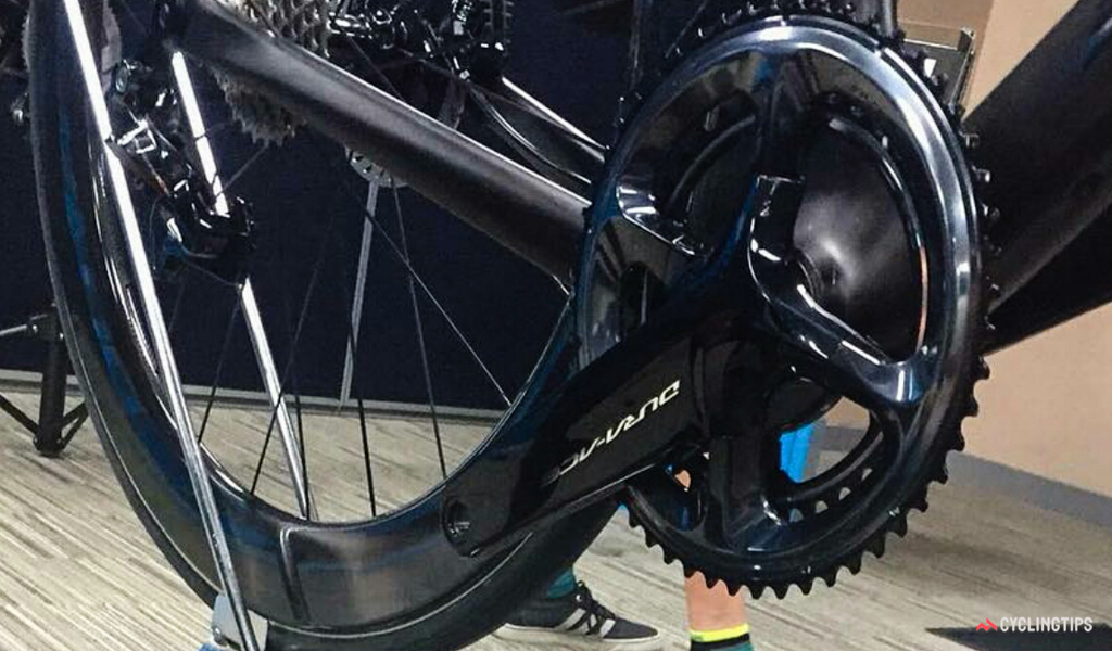 The new Shimano Dura-Ace R9100/R9170 crankset bears much broader arms than before plus an outer chainring that looks incredibly well reinforced.