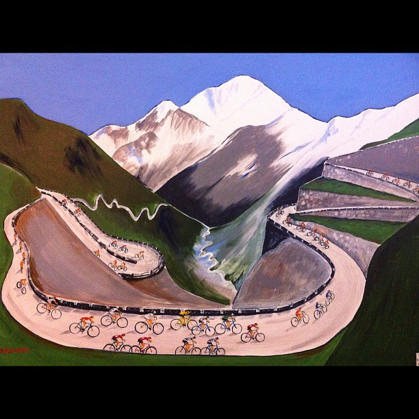 Nice acrylic piece of cycling art: Stelvio by Bruce Hargrave (Instagram)