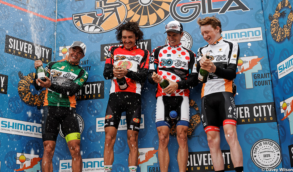 Tao Geoghegan Hart (r) takes the best young rider award in the 2016 Tour of the Gila.