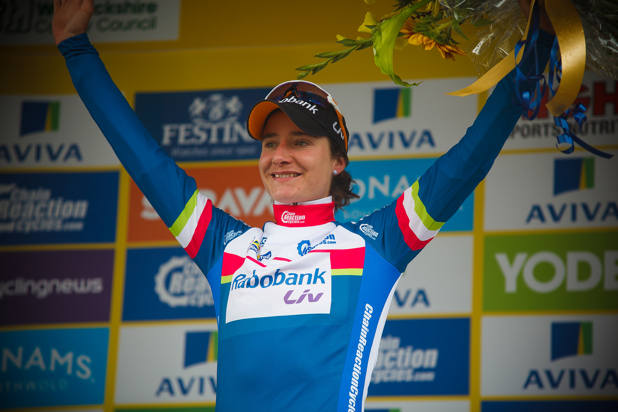 Marianne Vos (Rabo-Liv) leads the points classification and the GC after the 2016 Aviva Women's Tour stage 2.