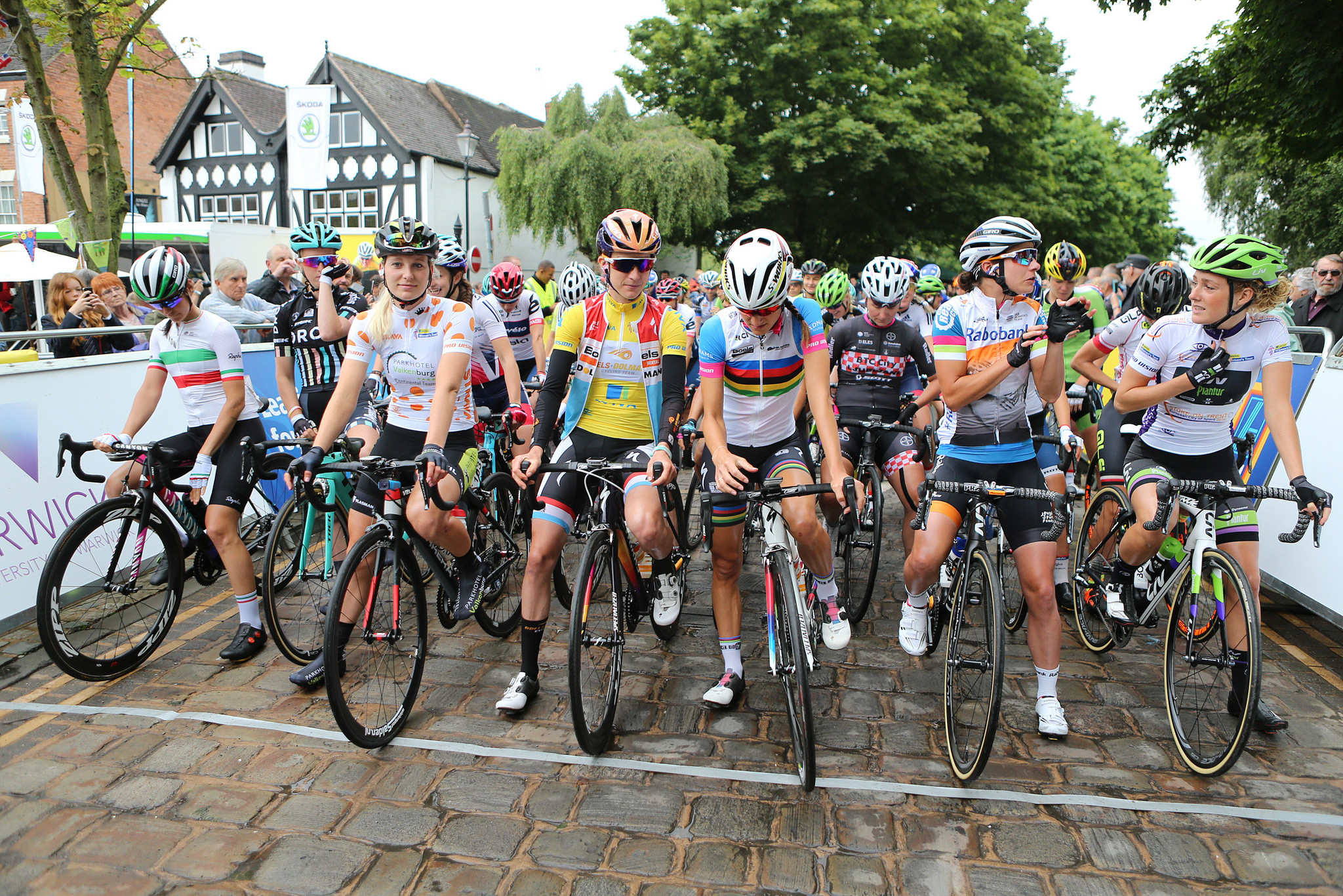 The jersey wearers in the 2016 Aviva Women's Tour ahead of stage 2.