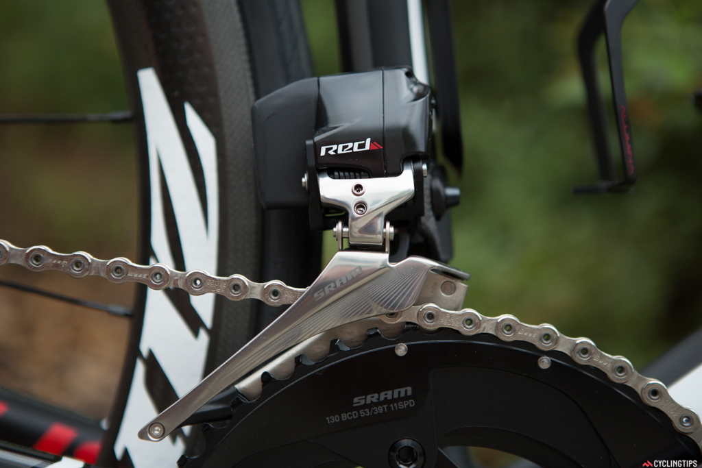 """The front derailleur features the same 'Yaw"""" adjustment throughout the shift range with no need for rider input."""