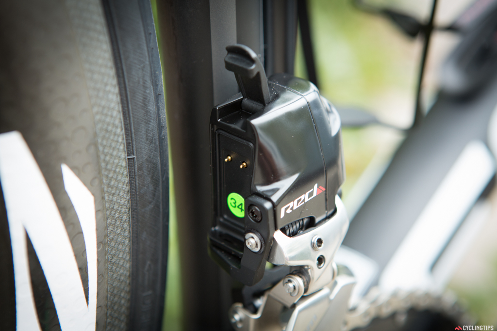 The battery on both front and rear derailleurs are easily removable and interchangable. There doesn't seem to be much chance for accidental removal of the batteries and SRAM says that after many pile-ups and crashes while being race tested, not one battery has come off.