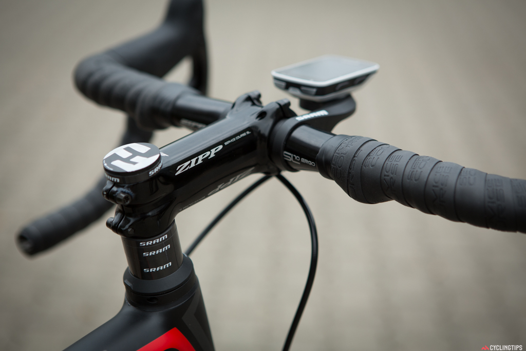 """You can see the """"Blip"""" shifters under the bar tape. Cable lengths come in two sizes for positioning anywhere on the bar."""