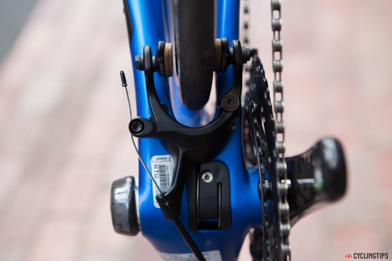 Instead of traditional brake placement on the rear stays, it is situated under the rear chain stays which is said to improve braking performance and aerodynamics.