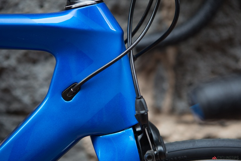 Front brakes are tucked away into the fork.