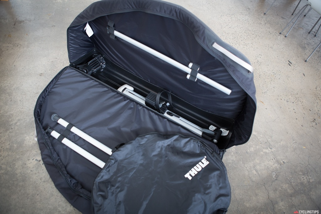 The Thule RoundTrip Pro has a rugged nylon shell with an aluminium rail to protect bike during transport, which also turns into a removable assembly stand. Tow nylon wheel bags are also included.