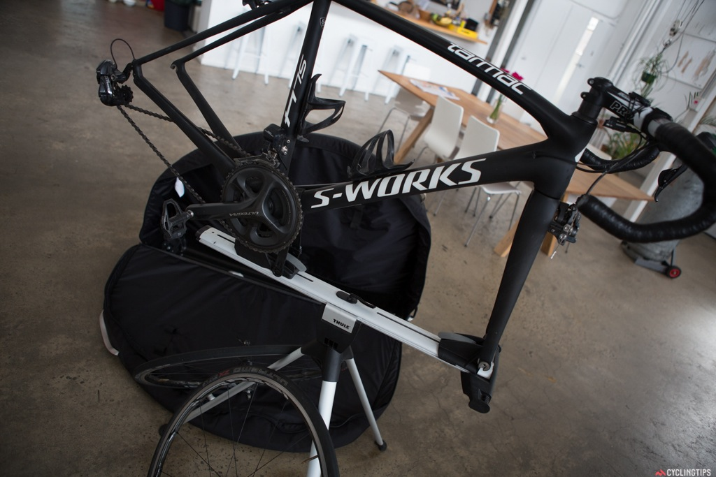 The workstand takes only a few moments to remove from the bag and set up. An ingenious idea by Thule.