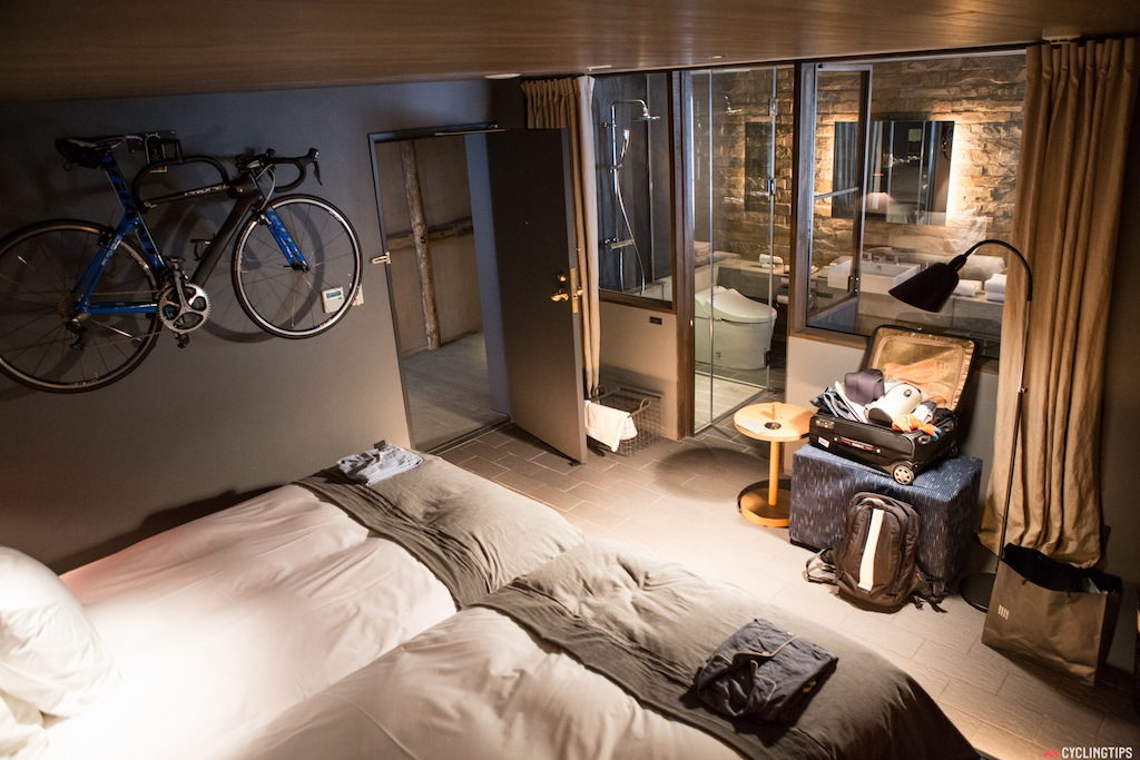 The inside of the room at the U2 Onomichi Cycle Hotel.