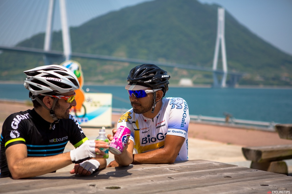 Akimov and Danny taking a break at one of the many stops on the Shimanami cycle route