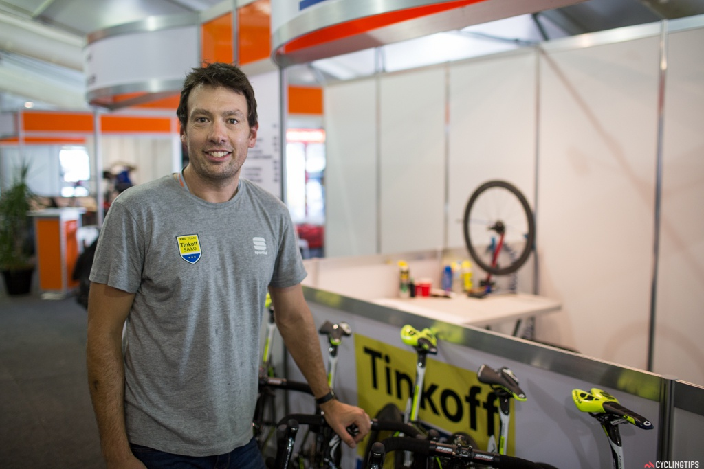 Ben - Tinkoff-Saxo:   This is my fourth year being a mechanic for Tinkoff-Saxo. I worked with Brad McGee before when he was working with Saxo and he got me a couple gigs overseas and then at the Herald Sun Tour and the Tour Down Under. He's no longer with the team but I've still kept the relationship and continue to work with these guys at the Tour Down Under.  I do a little freelance work with NSWIS and paracycling. At the moment I'm going back to be a psychology student, so that'll be my 9-5 for the next four years. But I'll still be able to do this during summer holidays.