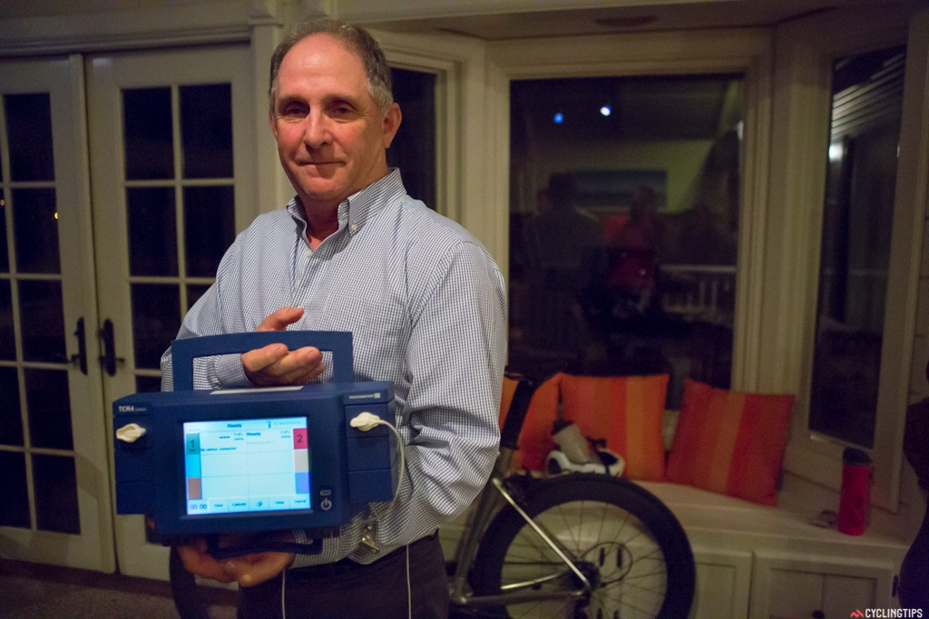 Dr. Roger Minkow and his transcutaneous oxygen monitor to demonstrate the blood flow improvements that the Power can potentially offer.