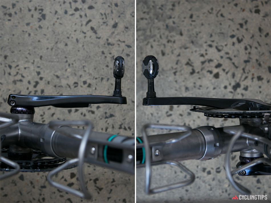 Crank comparison showing the Stages powermeter attached to the non-drive side crank (left).