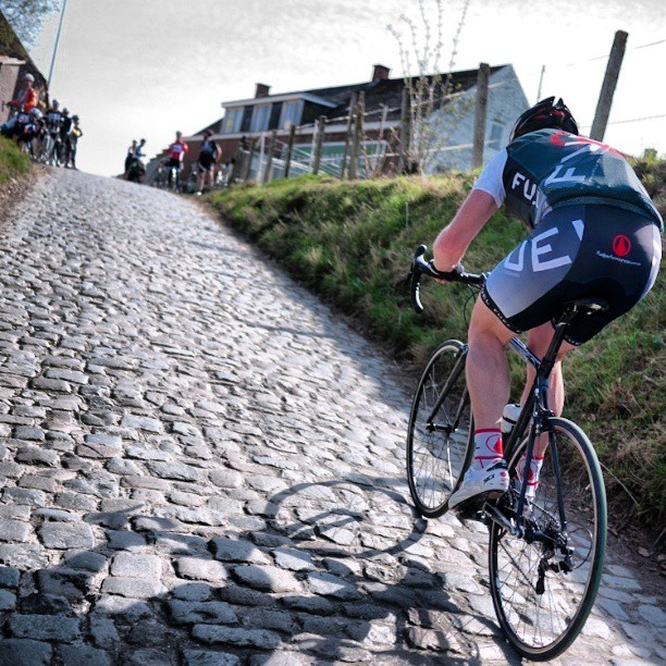Crushing the cobbles of the #koppenberg one year ago today (Instagram)