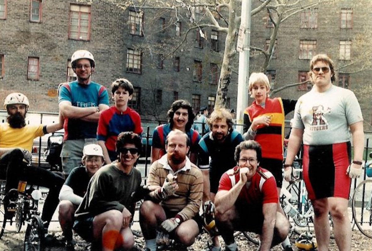 """Bill Elliston (second from right) at the 1983 Five Boro Bike Tour in New York City: """"A local shop owner (on far left) took me in. Also pictured is Dave Lieb, one of guys that I started racing with, kneeling in Peugeot hat and glasses."""""""