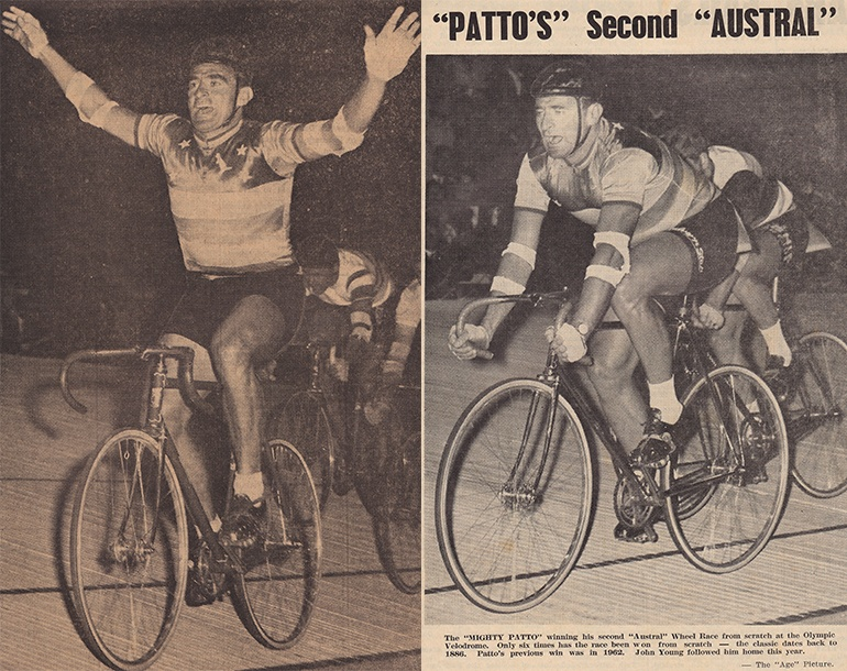 Left: Sid Patterson wins the 1962 Austral. Image via The Australian Cyclist, March 1962. Right: Patterson wins the race again, two years later. Image via The Australian Cycling, April 1964.