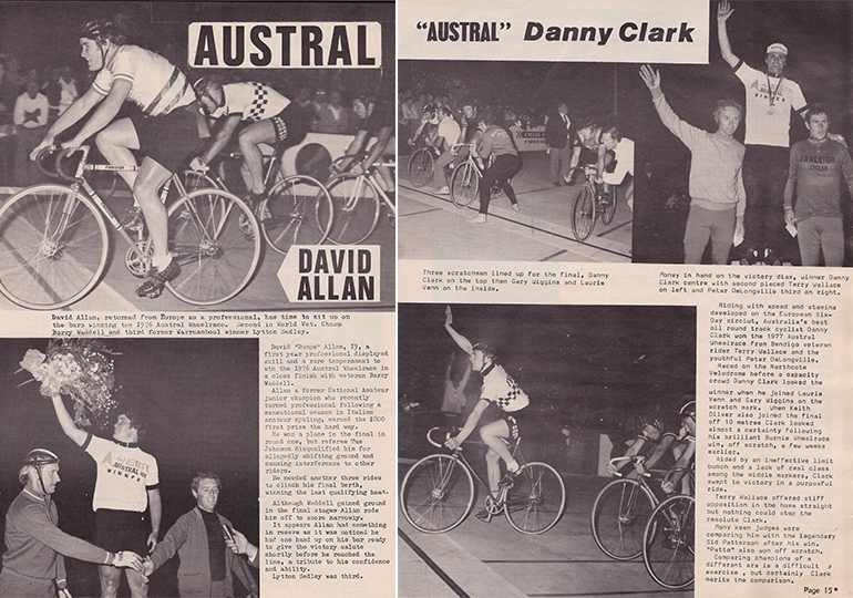 Left: reports from David Allan's 1976 Austral win (from The Challenge Magazine for Racing and Touring Cyclists). Right: reports from Danny Clark's win in 1977 (from the National Cycling Magazine, April-May 1977).