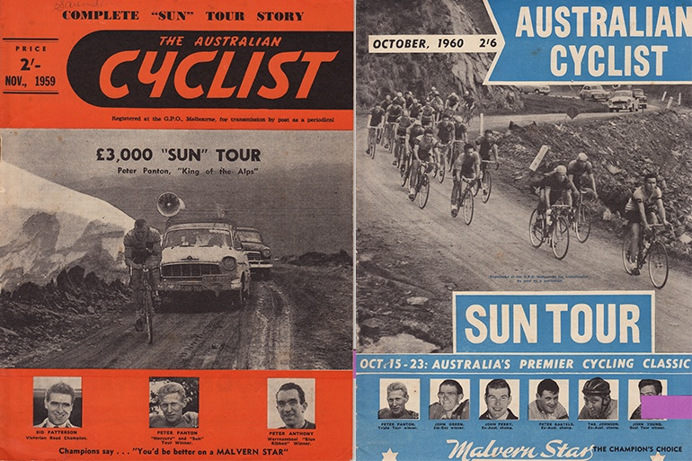 Two covers of Australian Cyclist showing Mt. Hotham being used in the 1959 (left) and 1960 (right) Sun Tour.