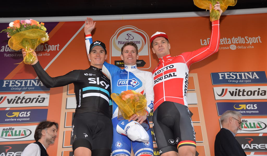 The podium of the 2016 Milan-San Remo, from left: Ben Swift (Team Sky), Arnaud Démare (FDJ), and Jurgen Roelandts (Lotto-Soudal).