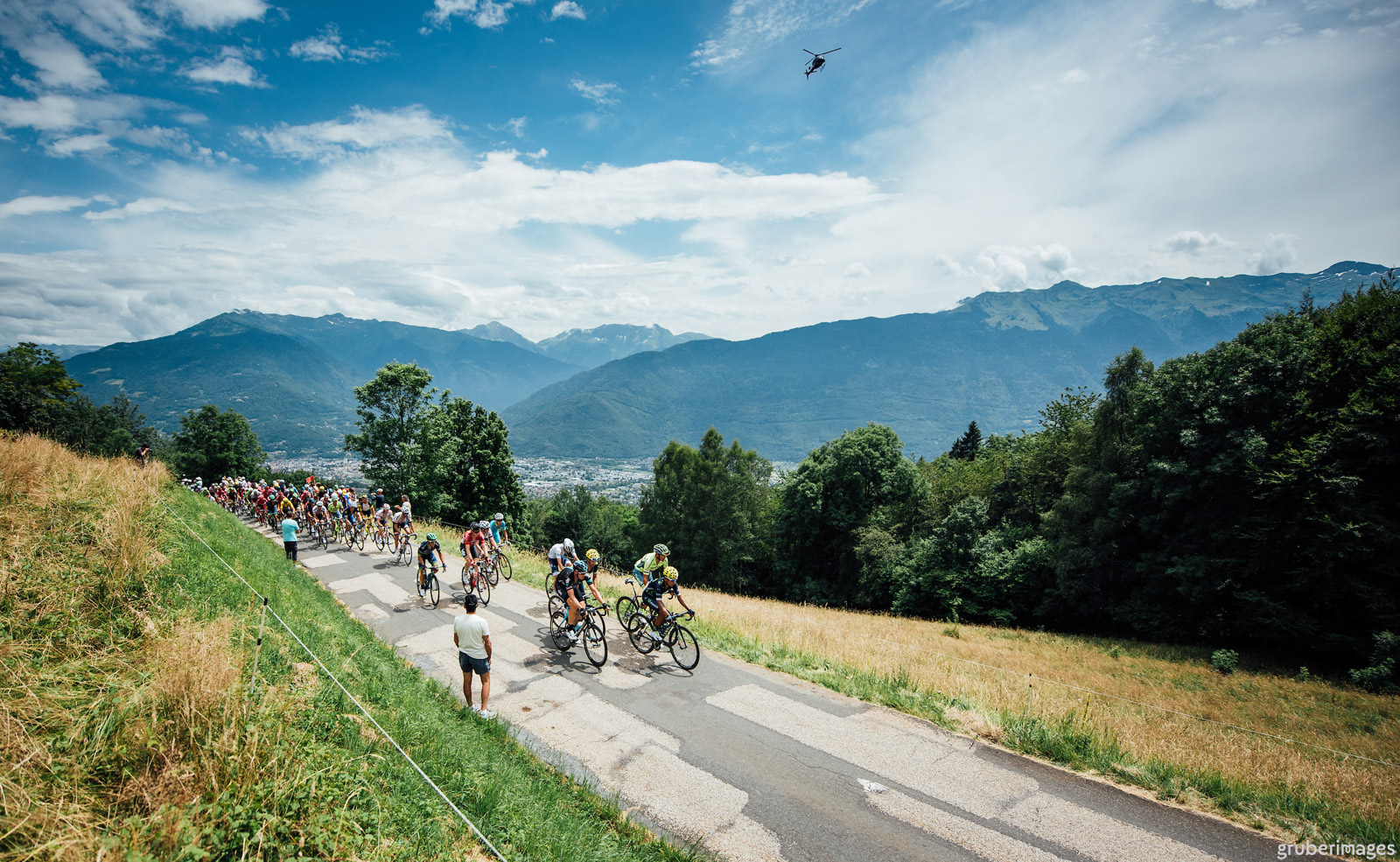 The peloton climbs the Col de Tamié on stage 19 of the 2016 Tour de France, July 22, running from Albertville - Saint-Gervais Mont Blanc. Photo by Gruber Images