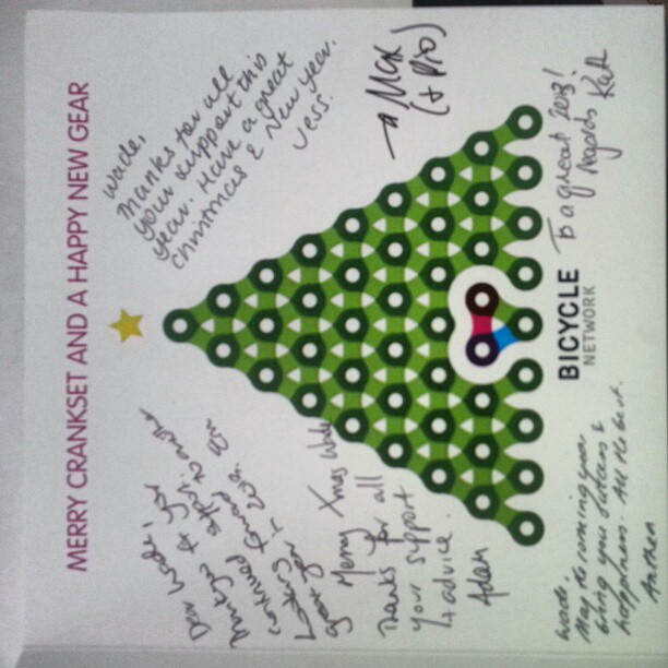 Very nice Christmas card from @bicycle_network. Thank you gor all your support this year guys! (Instagram)