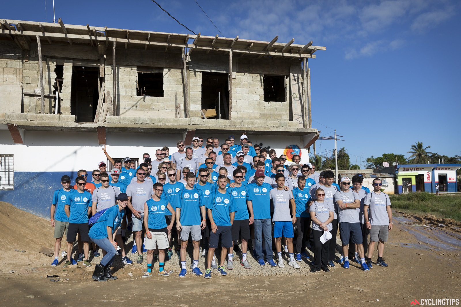 Team Novo Nordisk at the start of the two-day house build in the village of Batey Esperanza in the Dominican Republic. The build was the 2016 off-season team bonding exercise and followed a smaller one a year earlier in Mexico.
