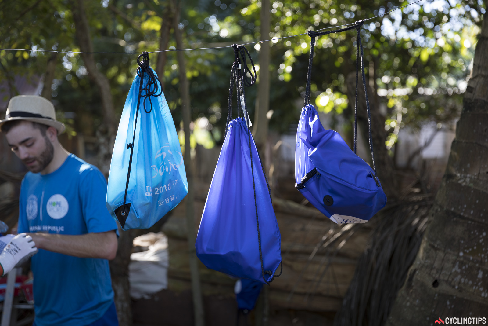 Many of the volunteers had small bags containing their personal items. These were suspended above ground level for safety and also hygene. Photo by Shane Stokes.