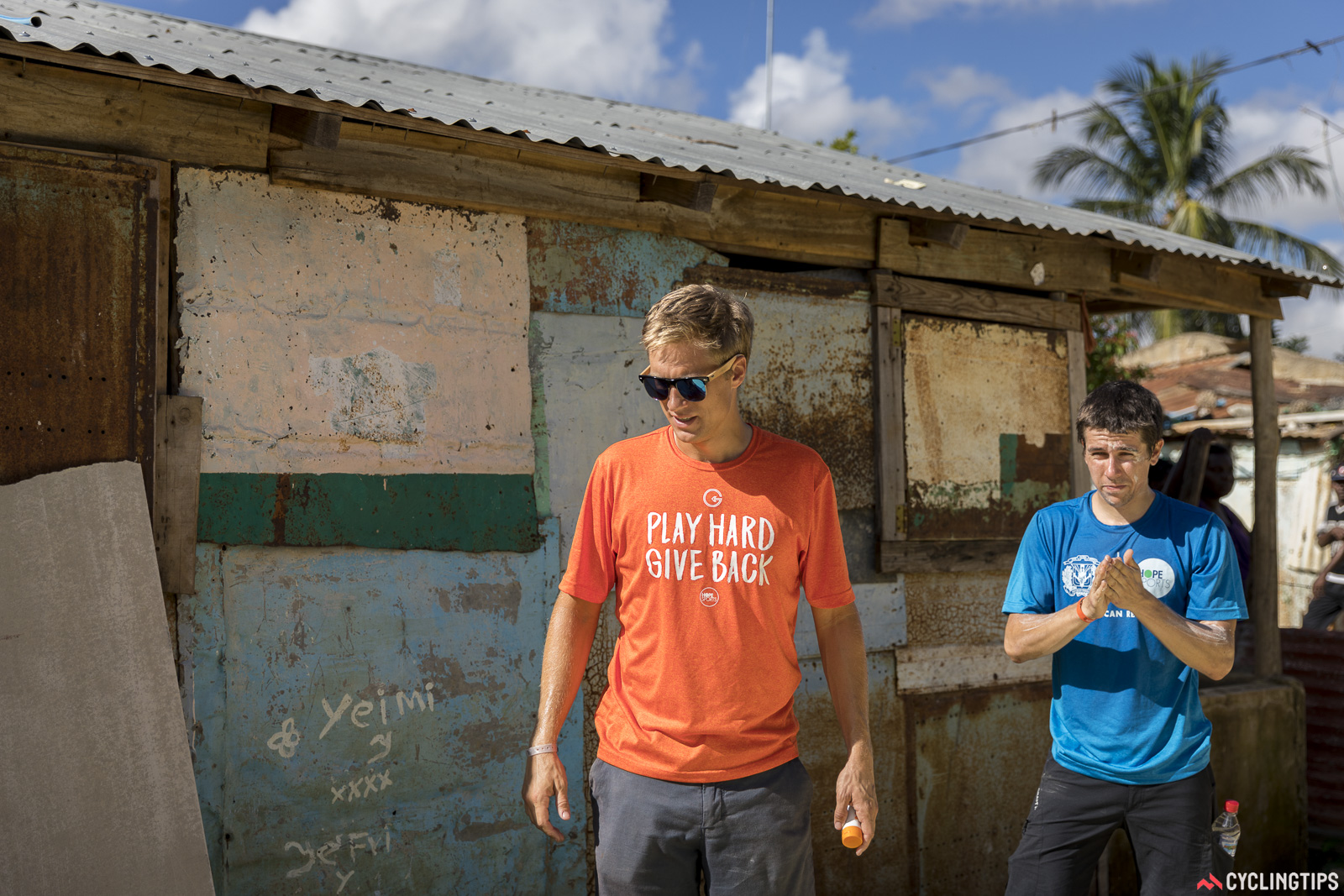 Guy East and rider Stephen Clancy. East is the founder of Hope Sports, a voluntary organisation which collaborates with volunteers from the world of sports to build homes for the poor.