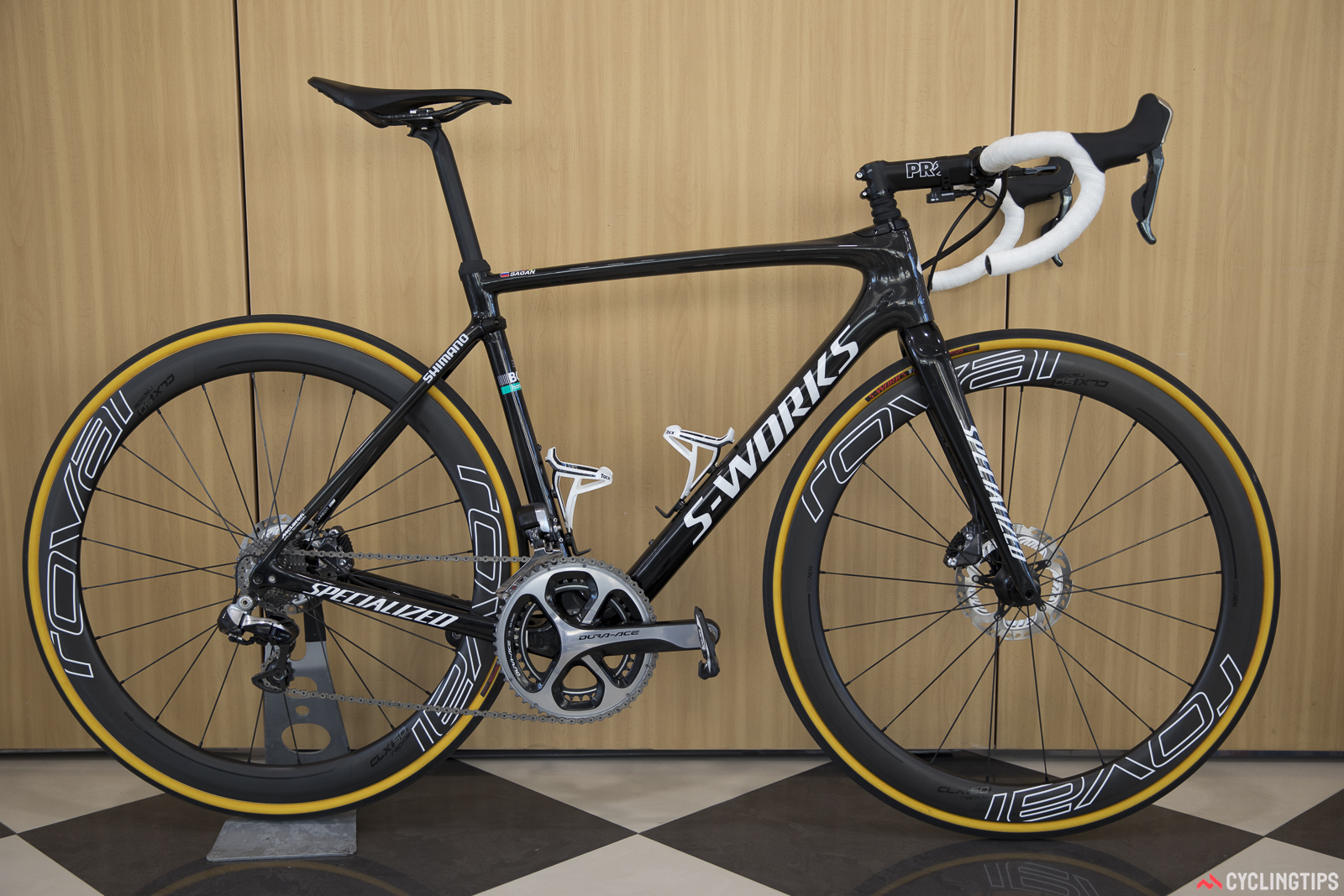 Peter Sagan's Specialized S-Works Roubaix will certainly be updated with Shimano's latest Dura-Ace Di2 hydraulic group before the season begins.