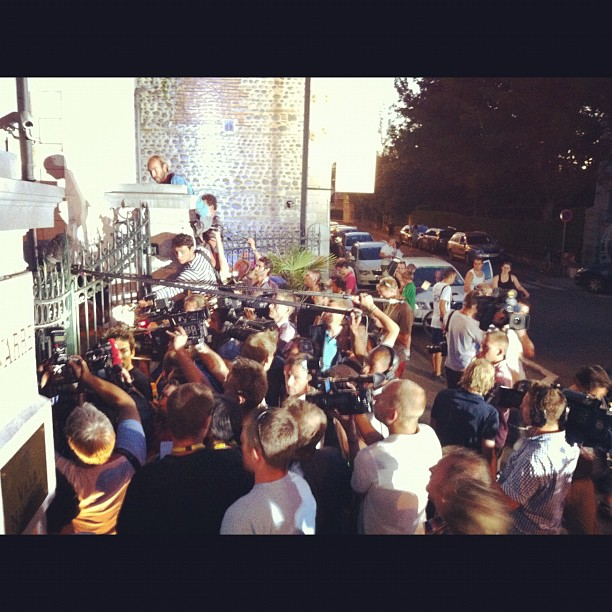 Mayhem outside of Frank Schleck's / RNT hotel #tdf (Instagram)