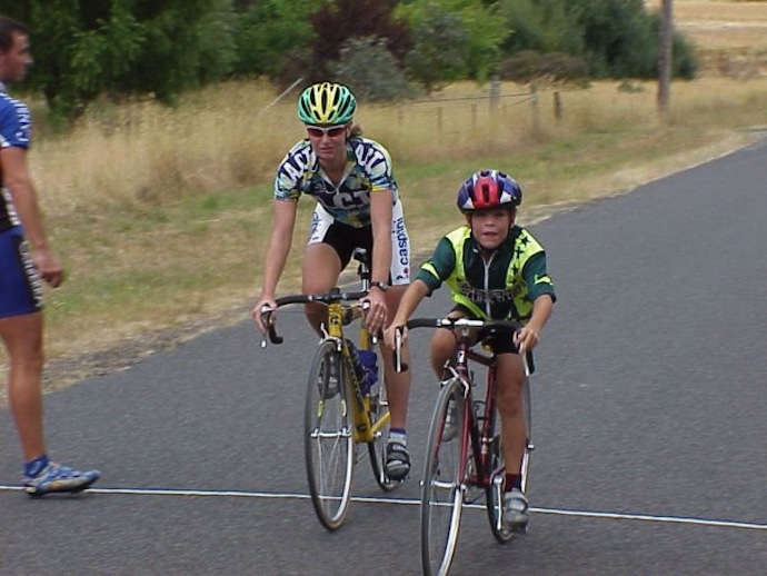 A young Adam Phelan alongside then-pro now-UCI-vice-president Tracey Gaudry.