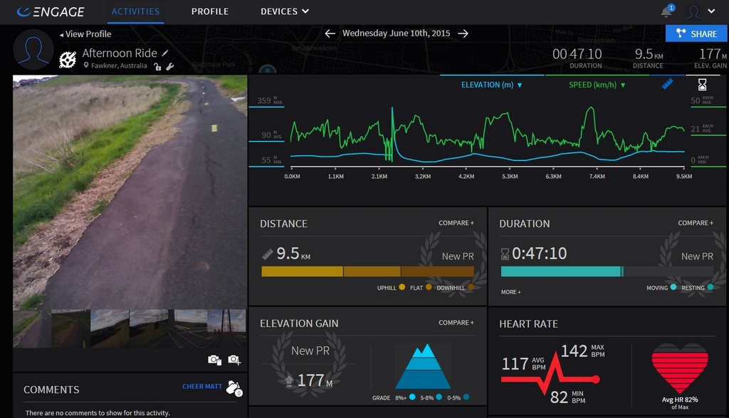 The Recon Engage activity page for a short, leisurely ride.