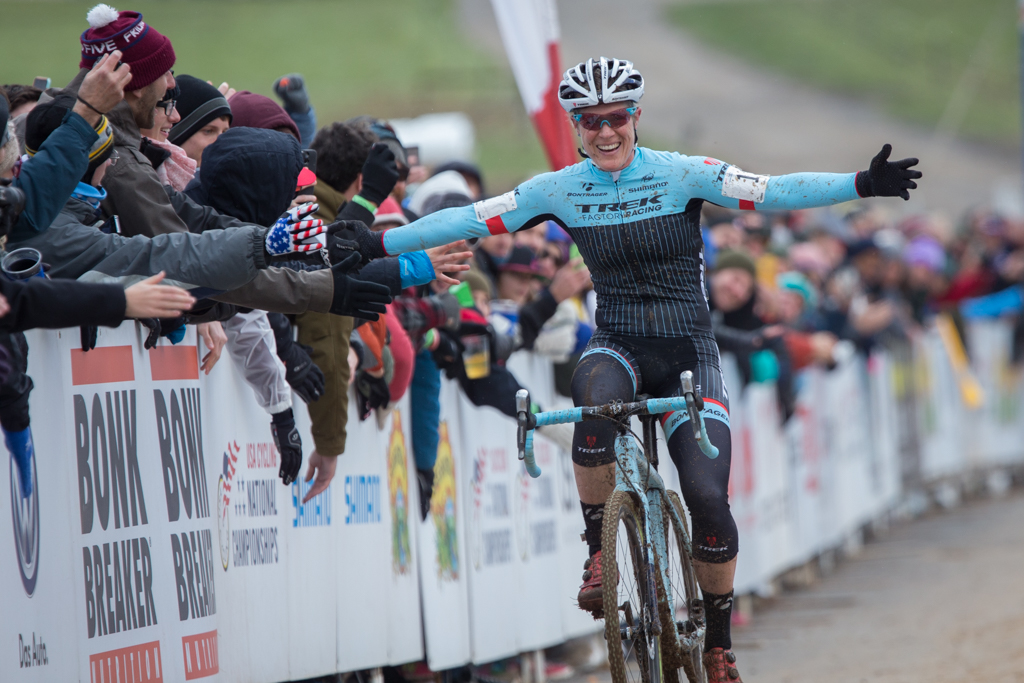 Katie Compton (Trek Factory Racing) won her 12th consecutive national cyclocross title, a tight battle against Luna's Georgia Gould. Photo: Wil Matthews