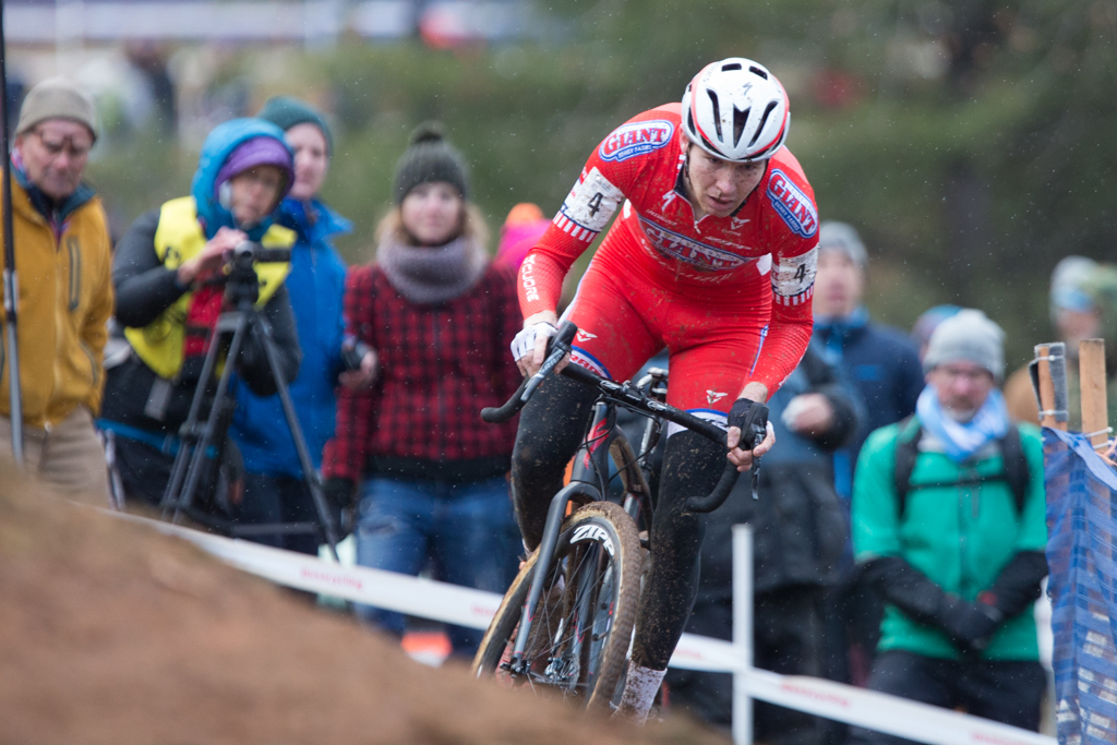 Logan Owen chased for second place as snow began to fall on the final lap at 2016 U.S. national cyclocross championships. He finished third. Photo by Wil Matthews.