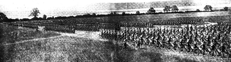 A cycle battalion including ANZACs and Canadians.