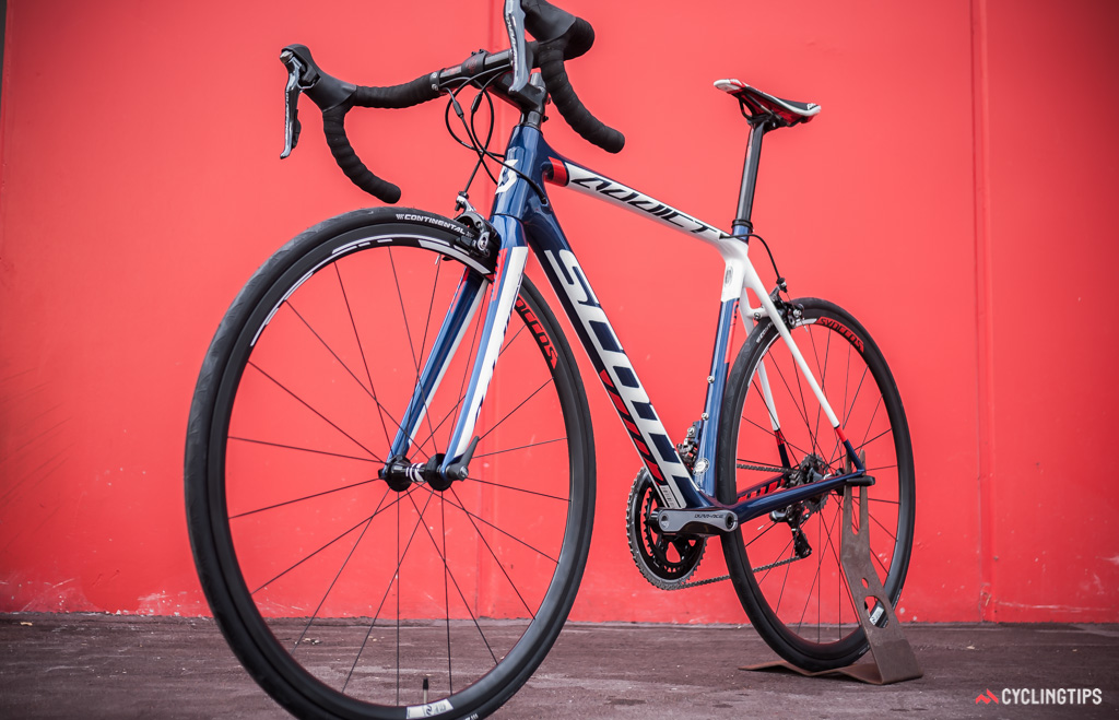 There are two versions of the Addict Team Issue bike: one gets Orica-GreenEdge's colours and a Dura Ace Di2 groupset; the other, team IAM's colourway and mechanical Dura Ace, as shown above.
