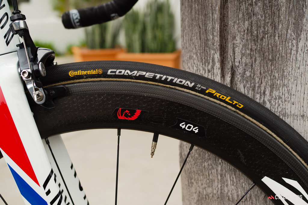 Continental's 25mm-wide Competition ProLtd ALX tires were a popular choice at this year's Amgen Tour of California.