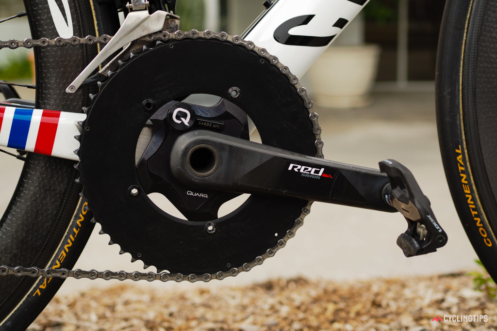 The solid outer chainring is presumably a bit stiffer than the standard one.