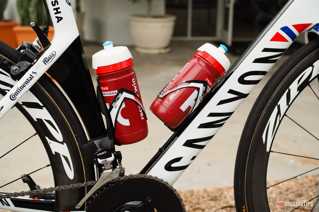Bottles are held in place with Elite Pase Custom Carbon cages.