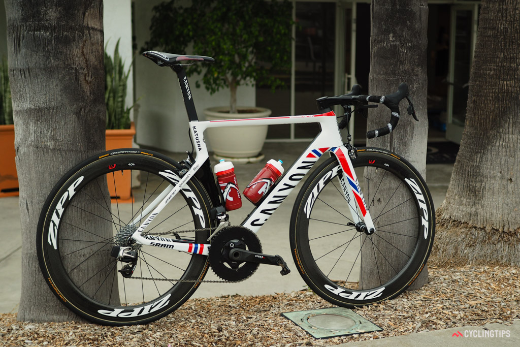 Alexander Kristoff stormed to victory at stage 7 of the 2016 Amgen Tour of California aboard this custom painted Canyon Aeroad CF SLX.