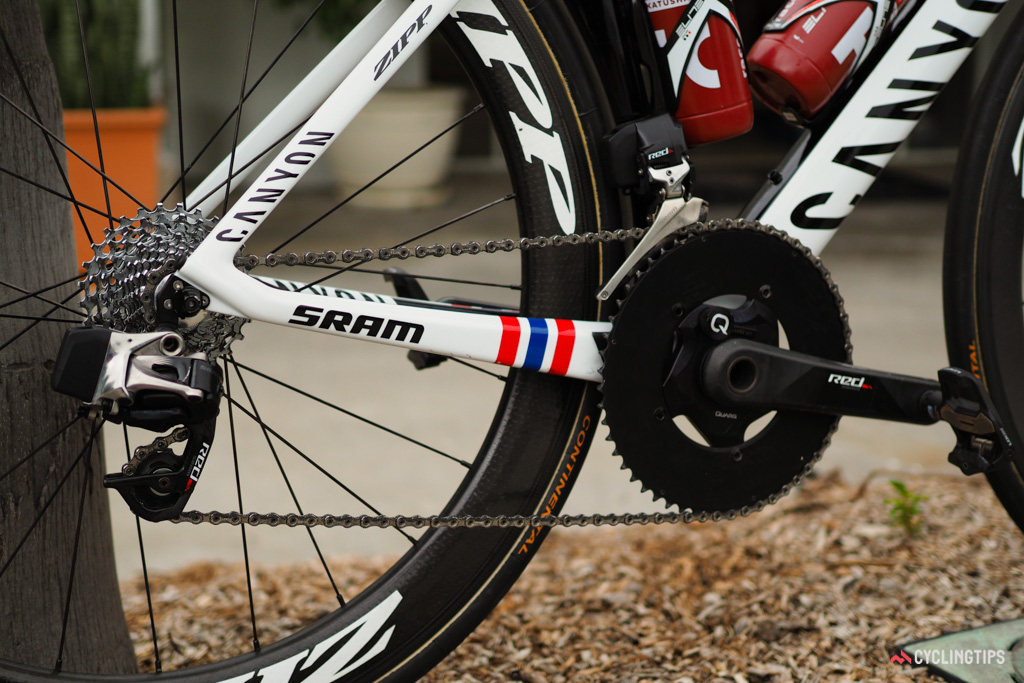 Kristoff is using SRAM's new Red eTap wireless electronic group.