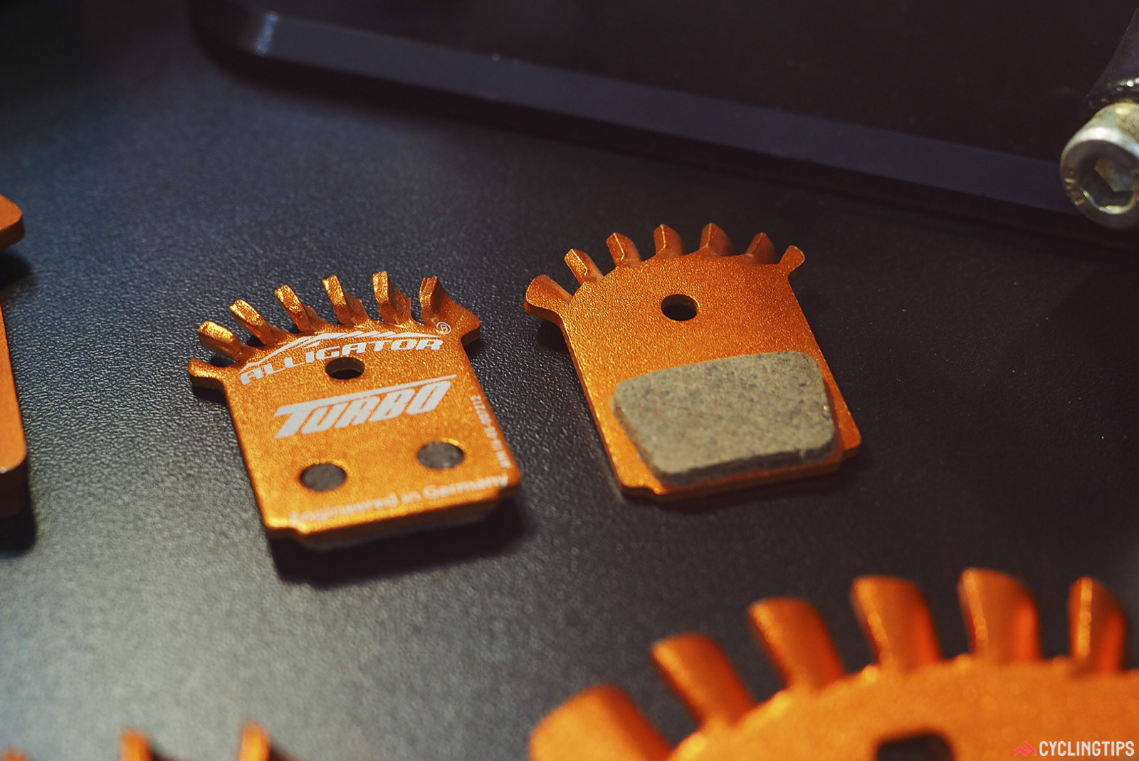 Also new from Alligator are these finned disc brake pads, with the idea being that their increased surface area should help dissipate more heat into the surrounding air. Alligator has figured out a very inexpensive way to manufacture such a thing, too. Photo: James Huang.