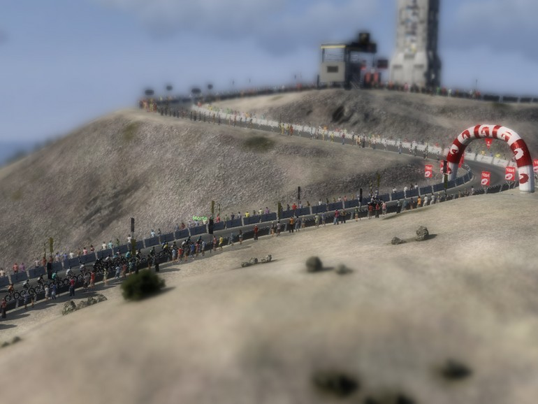 The final kilometre of the Mont Ventoux climb. Notice how it's compressed compared with the real thing?