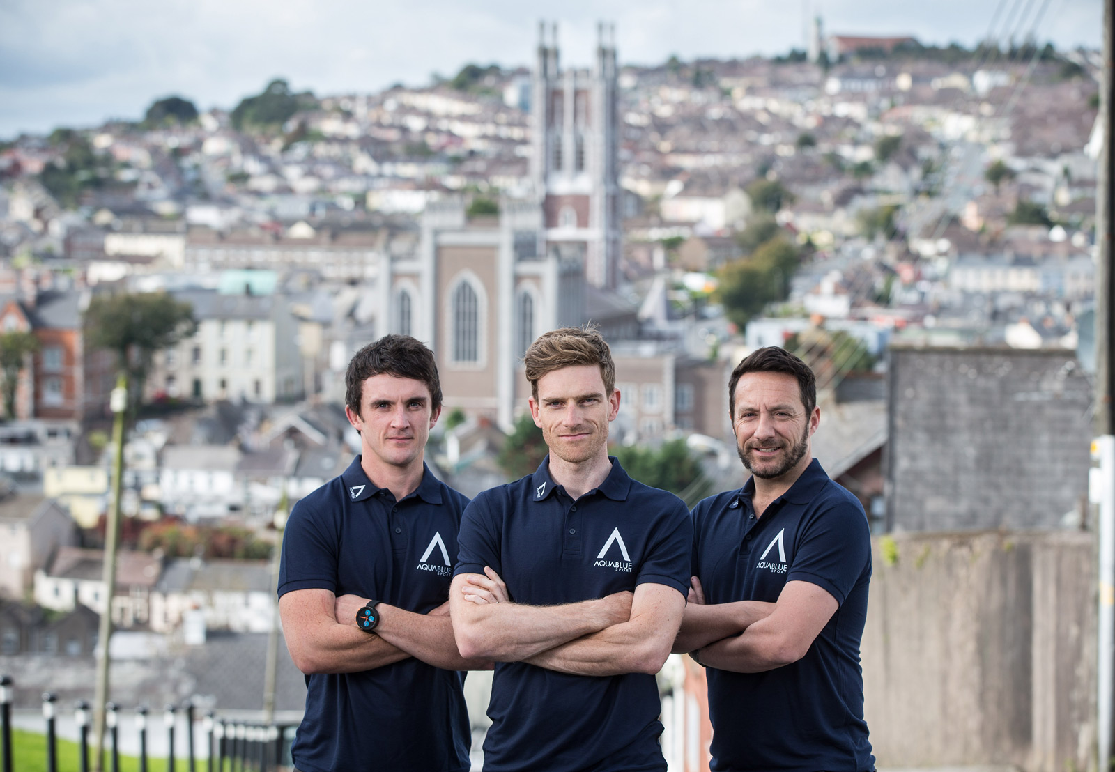 Former Olympic cyclist and World Track Champion Martyn Irvine is pictured alongside Director of Athletic Performance Stephen Barrett  and Sporting Director Tim Barry at the launch of Team Aqua Blue Sport, Ireland's first UCI Professional Continental cycling team.