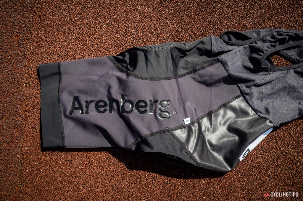 Arenberg makes clever use of contrasting fabrics and a rubber printed logo on the bibshorts.
