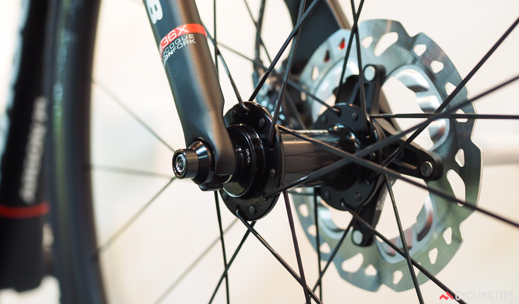 Argon 18 has curiously fitted the new bike with quick-release dropouts at both ends, however.