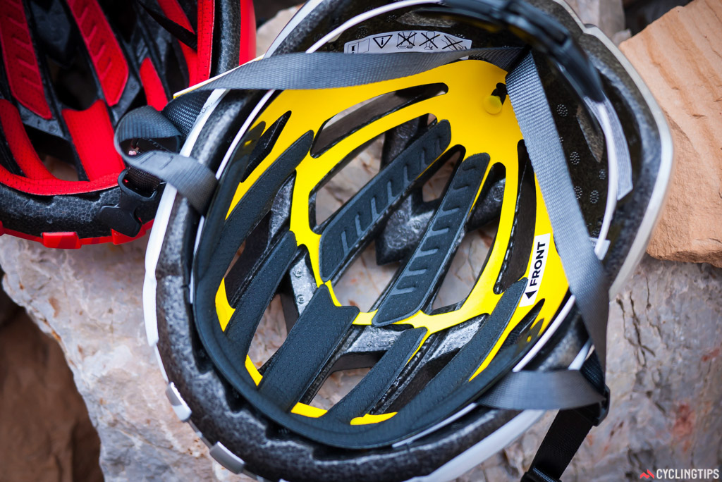 MIPS can be seen as the yellow insert in the ARX Plus helmet.