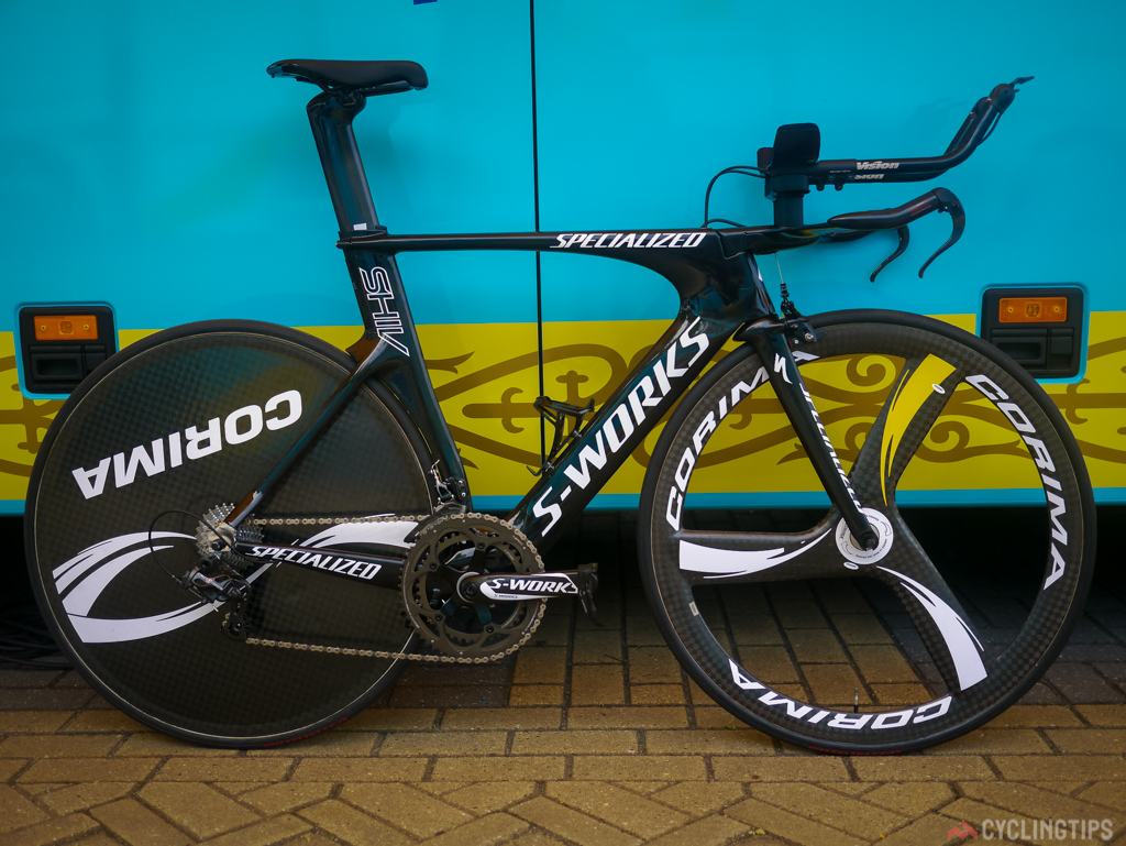 Lars Boom and the Astana team use the Specialized Shiv. Talking with Specialized representatives it would seem that the SHIV and the new Venge are close in aero properties. SO much so that Jakob Fuglsang was contemplating using the new Venge ViAS in the opening Tours time trial.