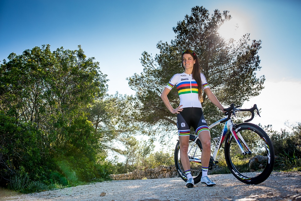 Rainbow stripe kit and bike for Lizzie Armitstead. Photo courtesy of Boels-Dolmans Cycling Team