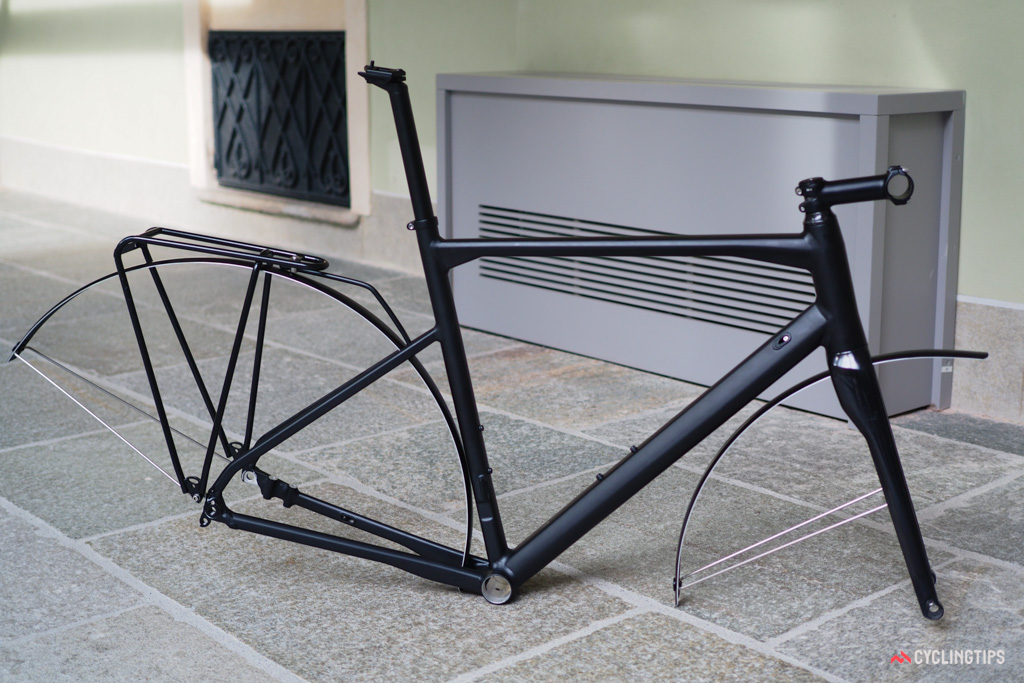 The RoadMachine 01 is the sportiest of BMC's new line with no accessory mounts (aside from bottle cages) whereas the second-tier RoadMachine 02 gets hidden fender mounts. The aluminum RoadMachine 03 pictured here, however, gets both rear rack and fender mounts for added versatility.